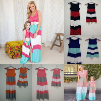 Summer Family Look Girl And Mother Daughter Sets Dresses Matching Outfits Contrast Color Ropa Madre E