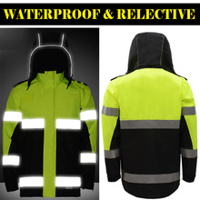 SFVest  Hi Viz Waterproof two Tone Yellow black Parka Storm reflective traffic safety Jacket Mens with 3M tapes free shipping