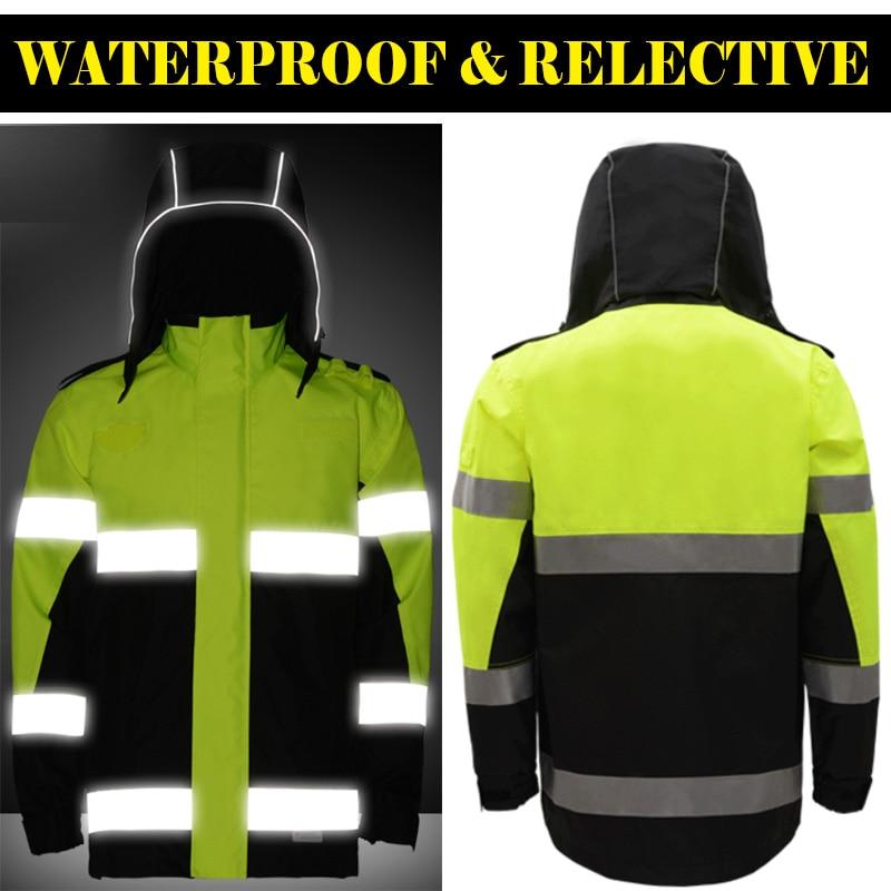 Sfvest hi viz Водонепроницаемый двухцветная желто черная парка шторм светоотражающие безопасности дорожного движения куртка мужская с 3 м ленты