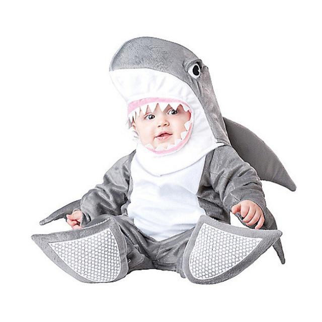 Babys Tiburón Tela de Algodón Footies Lindo Modelo Animal Ropa de Halloween Navidad Envío Gratis