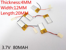 Free Shipping 3.7V lithium polymer battery 041220 401220 80mah MP3 MP4 MP5 Bluetooth headset