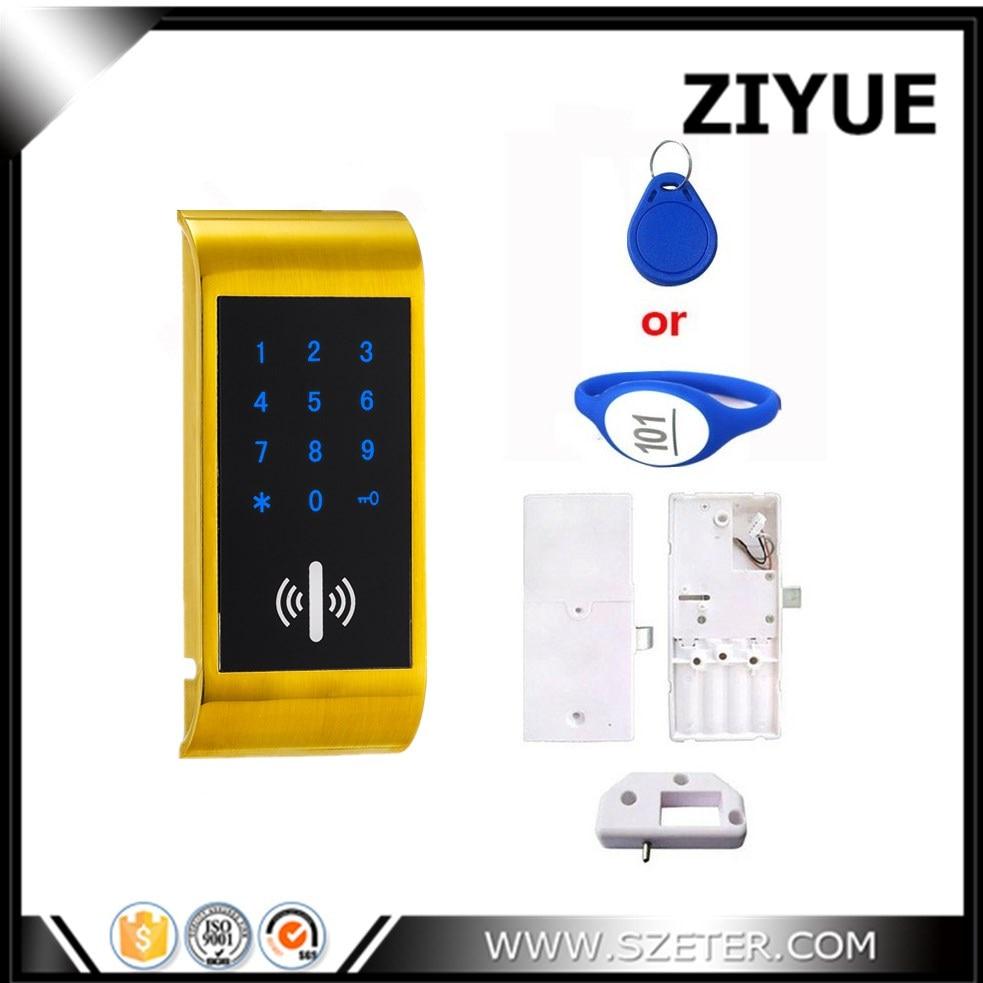 Free Shipping ZIYUE Digital 125khz Swipe RFID Card Keycard  Electronic Locker Cabinet Lock for Gym School Drawer