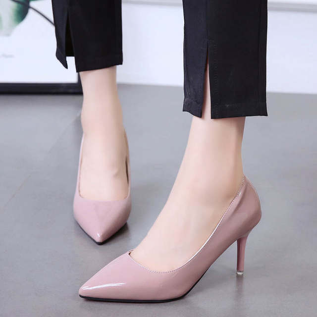 2019 HOT Women Shoes Pointed Toe Pumps Patent Leather Dress  High Heels Boat Shoes Wedding Shoes Zapatos Mujer Blue White 49