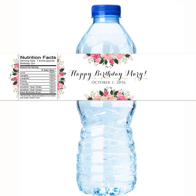 Water Bottle Name Tags: Beautiful Rose Personalized Water Bottle Labels Wedding
