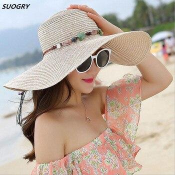 SUOGRY 2018 sombrero de Sol de ala grande de mujer caliente plegable de  piedra de colores hecho a mano sombrero de paja sombrero de verano de mujer  casual ... eed514d3ed6