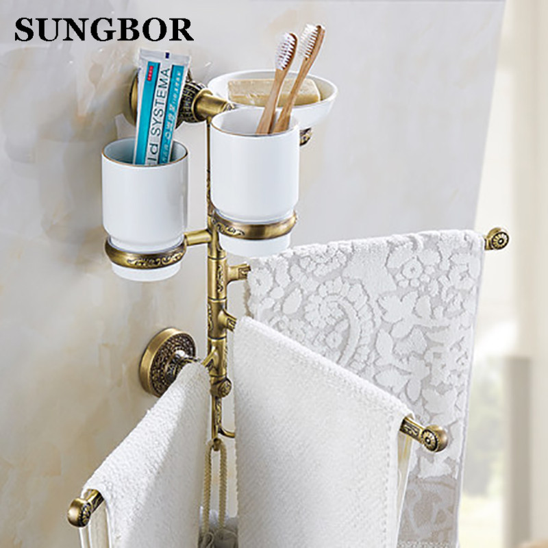 ФОТО Twin Flowers Series Carving Antique Brushed Brass Foldable Movable Towel Bar Wall Mounted Bathroom Accessories Towel Rack 1-3