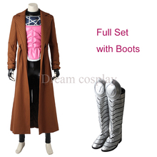 2016 New arrival X-MEN Clothing Marvel Gambit Cosplay Costume Superhero cos Outfit Faux leather full set costume with Boots
