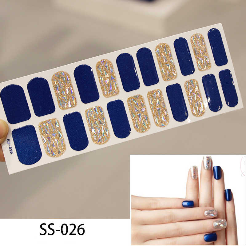 Lamemoria 22tips Nail Art Adhesive Sticker DIY Manicure Snowflake Shiny Sequins Nail Polish Strips Wraps Accessories Wholesale