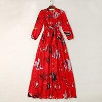 الجديد 2018 الربيع الصيف أزياء المرأة مصمم الشيفون ثوب طويل الأكمام القوس طوق أنماط طباعة البوهيمي فساتين طويلة الأحمر