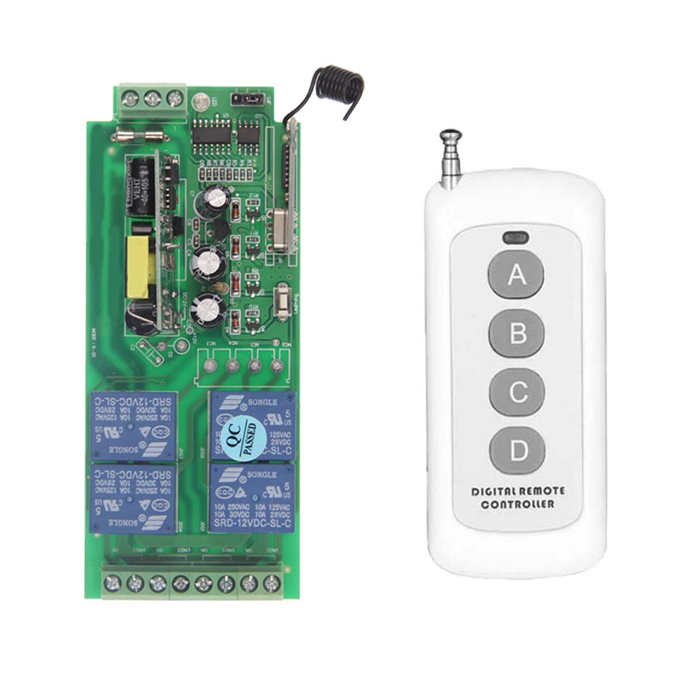 500m AC 85V-265V 110V 220V 230V 4 Channel 4CH RF Wireless Remote Control Switch System Receiver + Transmitter, 315 433.92 new restaurant equipment wireless buzzer calling system 25pcs table bell with 4 waiter pager receiver