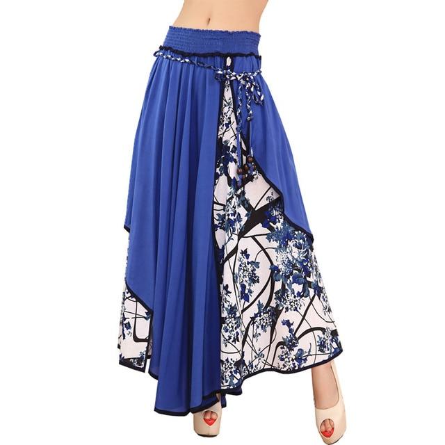 ca11bb123 Moda Hight Cintura Maxi Faldas Para Mujer Verano 2017 Nueva Casual  Impresión Floral Patchwork Asimétrica Plisada Dobladillo Grande Dama Falda  Larga ...