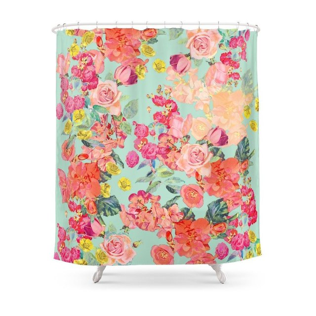 Antique Floral Print In Coral And Mint Tones Shower Curtain Polyester Fabric Bathroom Home Waterproof Curtains