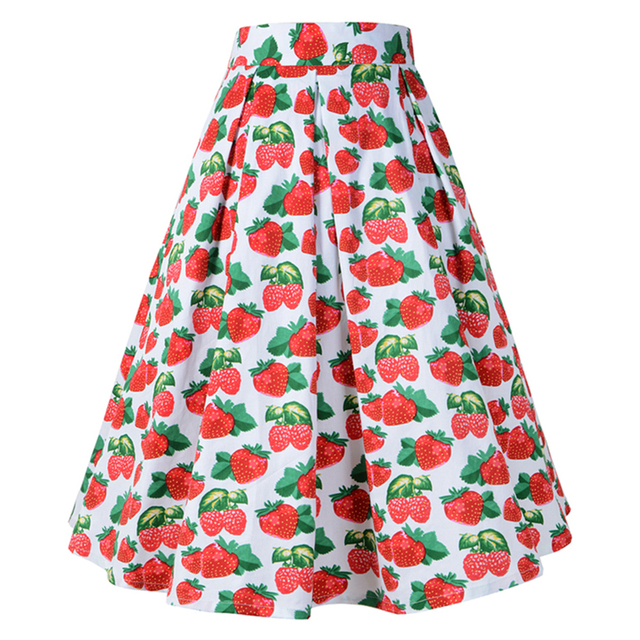 6d650b8b67d Women vintage skirt 60s 70s 80s 90s floral strawberry printed pleated skirt  retro Audrey Hepburn robe rockabilly pin-up vestidos