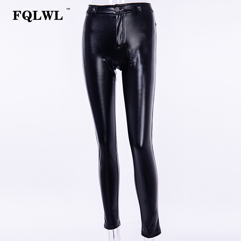FQLWL Punk Bodycon Faux Pu Leather Pants Women Push Up Black High Waist Pants Female Autumn Winter Trousers Women Sexy Pants 15