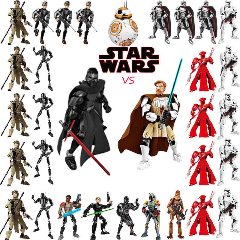 Звездные войны последние джедаи игрушки Дарт Вейдер генерала гривуса бота Фетт Чубакка Луки Skywalk фигурка строительный конструктор для детей