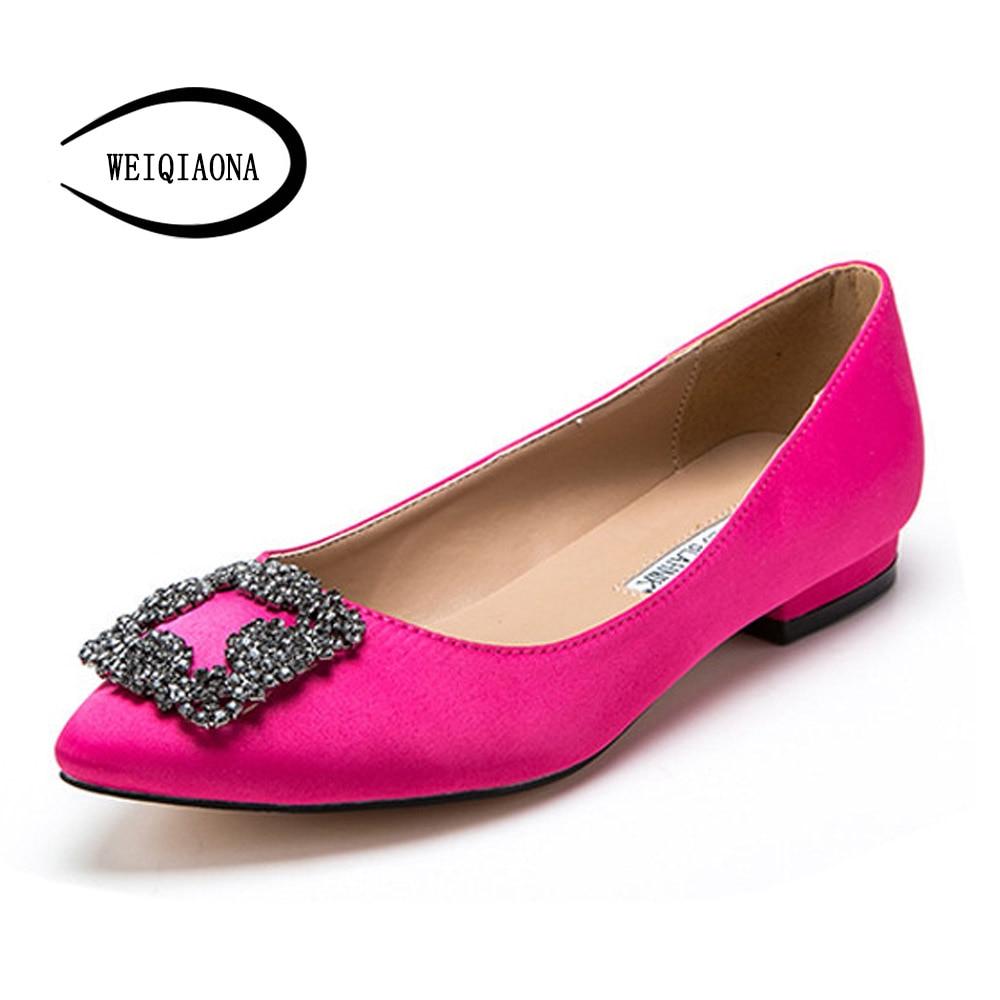 Weiqiaona Кристалл Женская обувь на плоской подошве новый стиль балетки туфли принцессы лакированные Casualfashion обувь Размеры 31-43