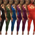 2017 New Arrival Fashion Women Sexy Solid jumpsuit bodysuits casual Full Length jumpsuit 6 colors plus size M-3XL