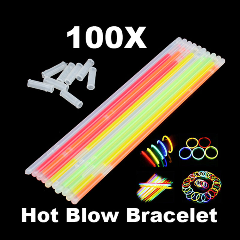 100pcs Glowstick Neon Party Fluorescent Bracelets Necklace Glow in the Dark Neon Sticks Christmas Party Supplies ...