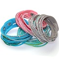 12pcs New multilayer crystal wrap bracelet rhinestone bling slake deluxe bracelet double leather bangle Pulseiras Femininas 2016