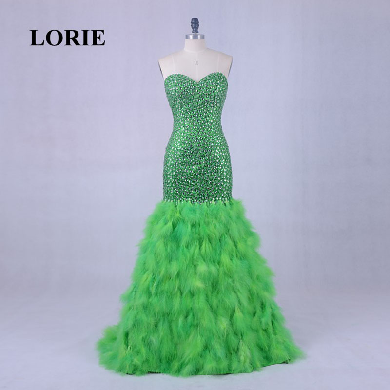LORIE Luxury Crystal Party Evening Dress With Feather Lime Green Long Dress Mermaid Formal Prom Dress Real vestido baile longo