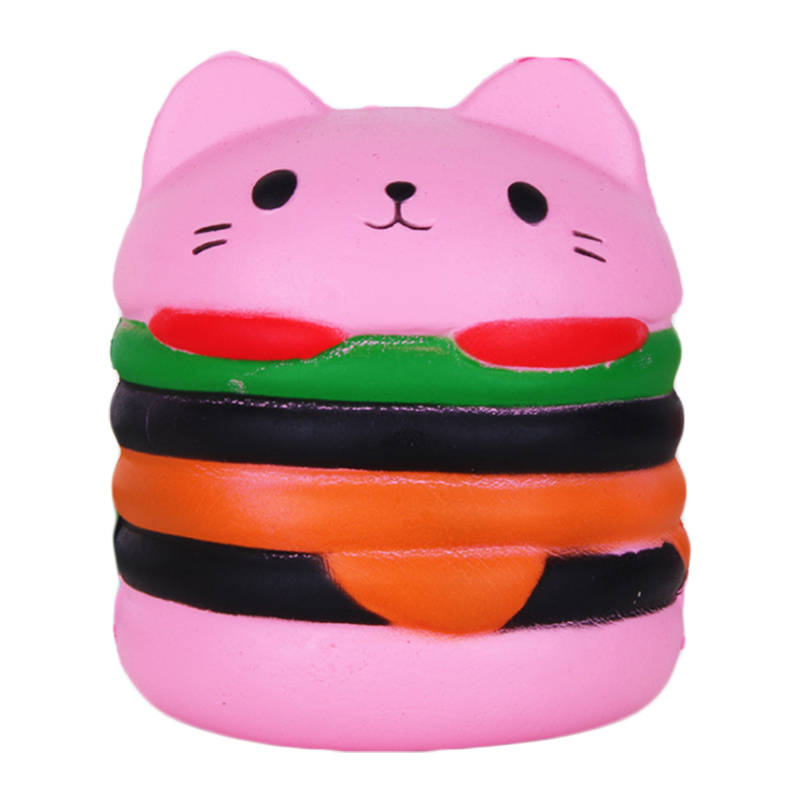 Купить с кэшбэком Jumbo Cat Face Burger Squishy Simulated Bread PU Scented Soft Slow Rising Squeeze Toys Stress Relief Baby Kid Toy Xmas Gift