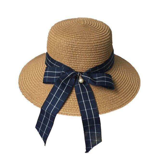 Señoras del temperamento del arco del verano de paja sombrero de tela  escocesa de la Moda ef257267d13