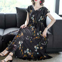 2019 New Summer Women Long dress Sleeveless Print Slim Lady Wealthy Woman In Fashion Dresses 1985