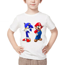 Cartoon Children Mario Sonic The Hedgehog Round Neck T-Shirt Funny Children Clothes Boys Girls Casual Summer Tops(China)