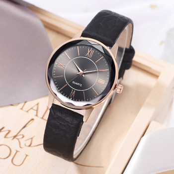 Fashion Leather Strap Dress Watches For Women Luxury 3D Rome Number Dial Sports Sports Quartz Clock Ladies Wrist Watch 2019 New