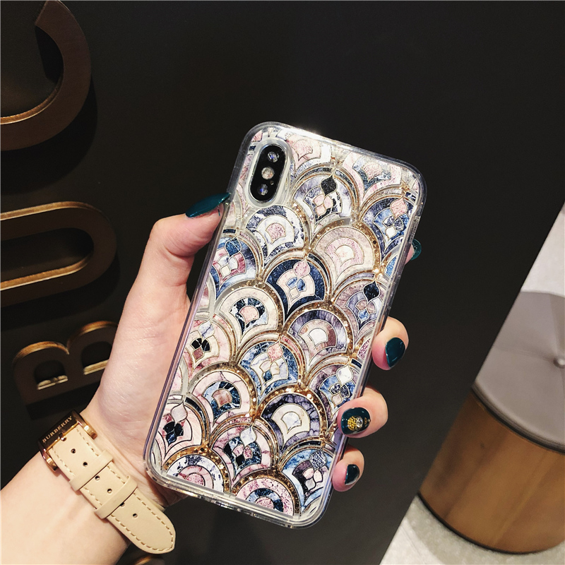luxurious Abstract totem quicksand Case for iphone X XS Max XS XR Dynamic liquid Bling glitter Case For iphone 6 6s 7 8 plus 5 8 in Fitted Cases from Cellphones Telecommunications