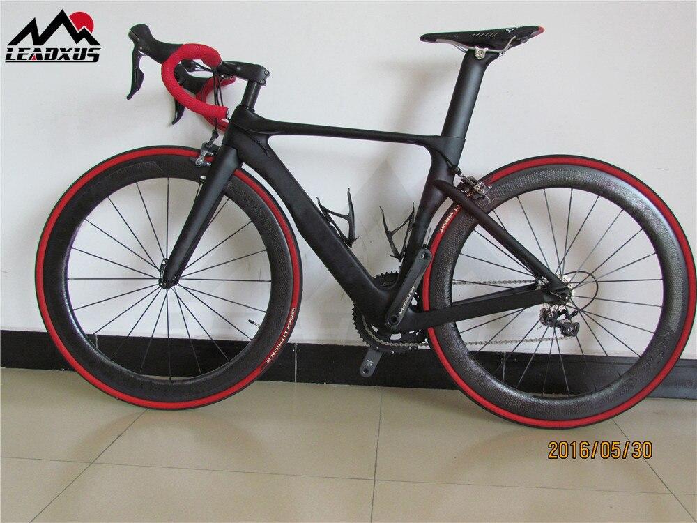 LEADXUS GAM180 cadre de vélo de route complet en Fiber de carbone + roues en carbone à fossette + guidon/selle en carbone + groupe R8000