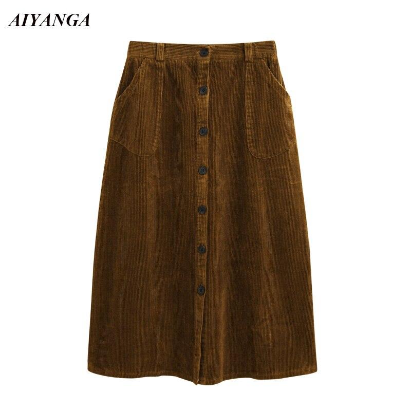 f0d6802989e41 Corduroy Skirts Women Autumn Winter Skirts 2018 Medium Long A-Line Skirt  High Waist Button