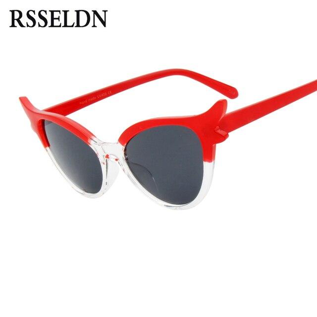 a28a9d1ba6fda RSSELDN Moda Olho de Gato óculos de Sol Elegantes Óculos de Sol Das  Mulheres Designer De
