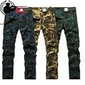 Dos homens Calças de Camuflagem Macacão de Moda Estilo Militar Calças Cargo Roupas Ferramental Multi-bolso Calças de Trabalho Tático Masculino Magro