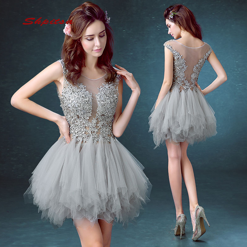 Grey Short Lace   Cocktail     Dresses   Party Homecoming Graduation Women Prom Plus Size Coctail Mini Semi Formal   Dresses