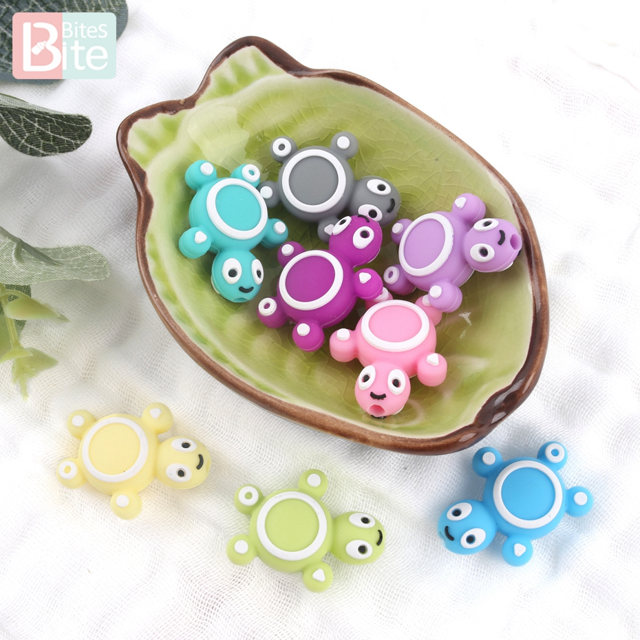 Brite Bites 3PC Silicone Bead Teething Mini Turtle Food Grade Silicone Toy Teething Nursing Chewing DIY Shower Gift Baby Teether