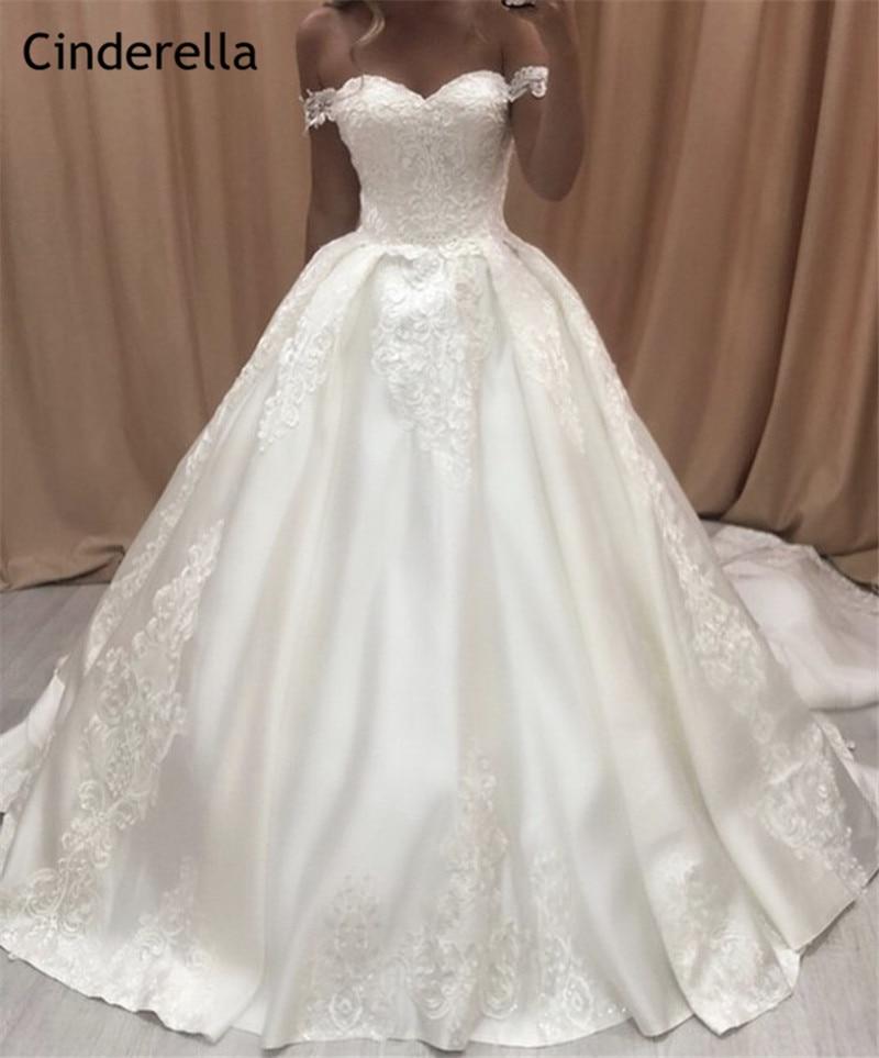 Cinderella Sweetheart Off The Shoulder A-Line Court Train Lace Up Back Lace Applique Satin Wedding Dresses Vestido De Noiva