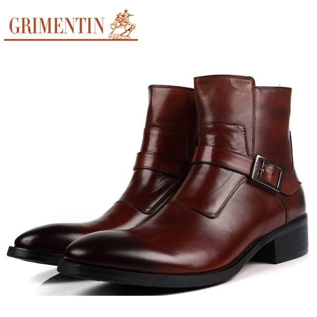 16bf52166ec48 GRIMENTIN Mens Ankle Boots Genuine Leather Black Brown Zipper Italian  Designer Luxury Men Dress Shoes Size 38-44 BO199