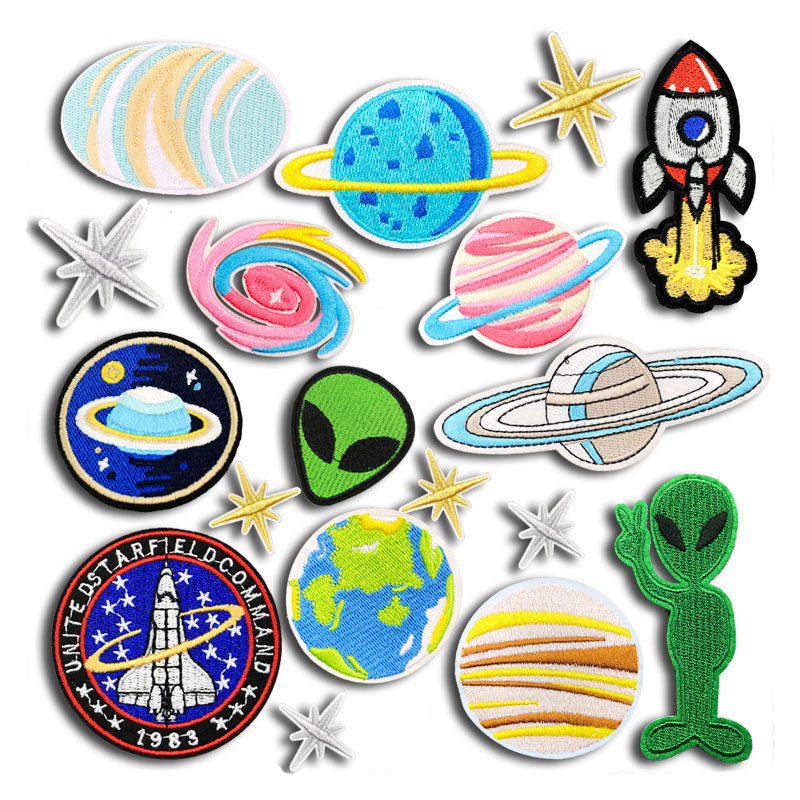 UFO Alien Embroidery Patch Applique Iron on Clothes Star Sky Stickers Fabric Iron Patches for Clothing Children Badges Bag super bowl ring 2019
