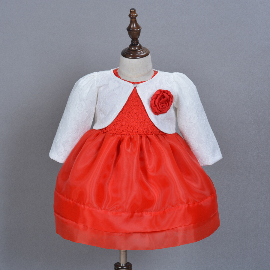 2pcs set 2018 Princess Sleeveless Gauze Dress Baby Girls Toddlers Kids Party Dress Baby Cape 1st Years Birthday Red Color