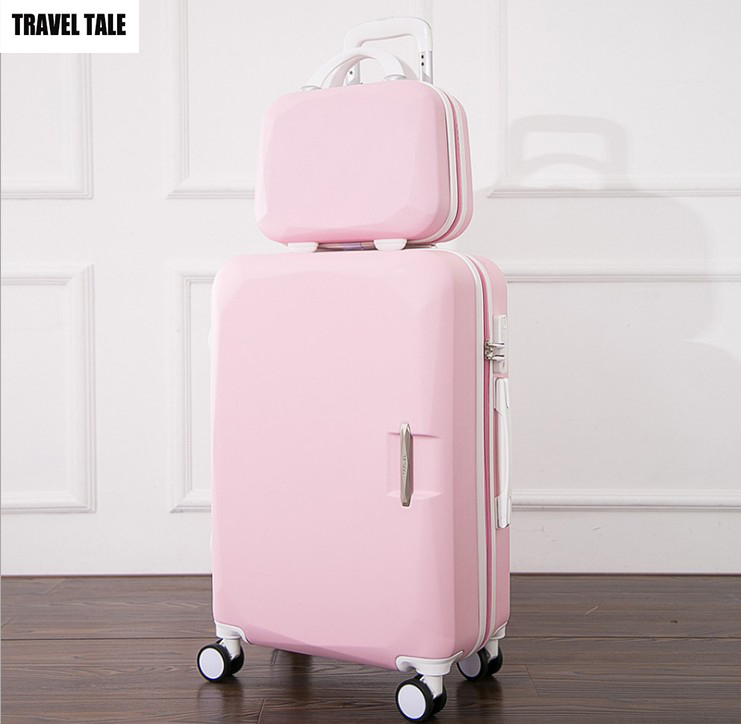 TRAVEL TALE 20,24 inch women Suitcase vs cosmetic bag,Travel suitcase Set,Spinner Rolling Luggage,Hardside,abs koffer set