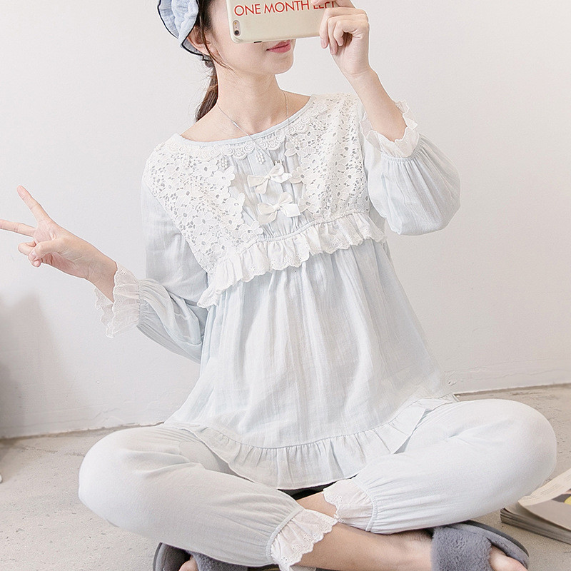 Female Sexy Clothes Suit for Pregnant Women Summer Lace Floral Postpartum Nursing Pajamas Clothing Sets nightgown lactation grey lace details floral print v neck sleeveless pajamas sets