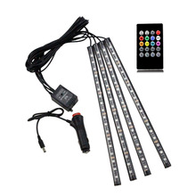 Car RGB LED Strip Ligh Car-styling Decorative Atmosphere Lamps 12v Led Strip Interior Light With Music Voice + Remote Control