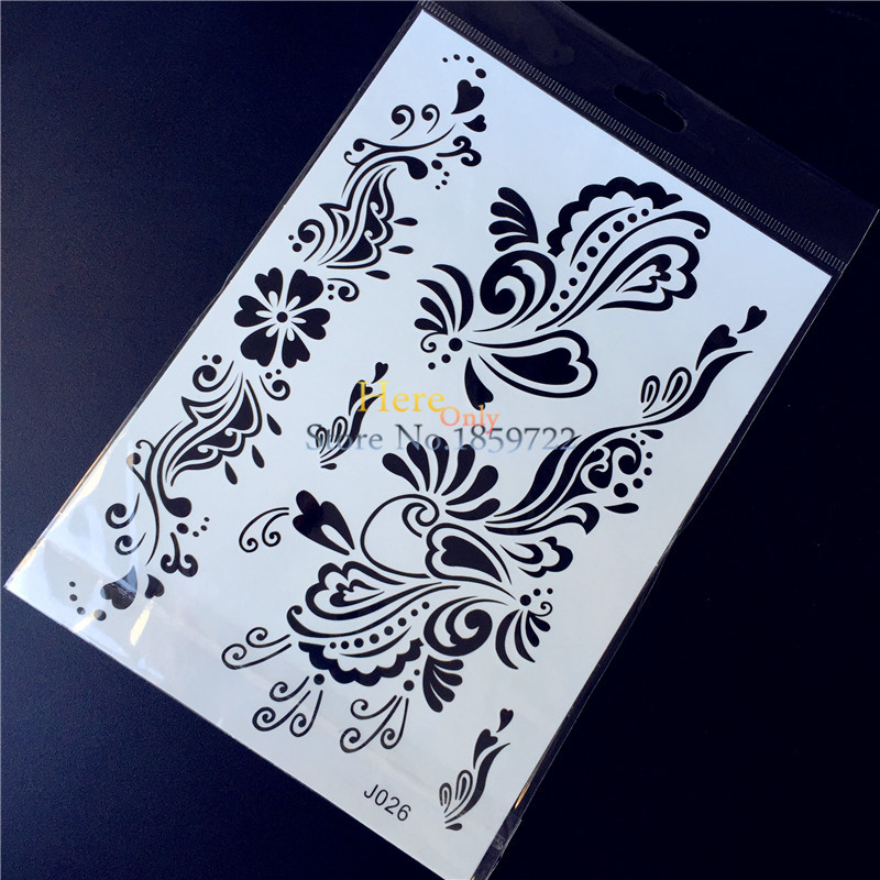 1PC Black Ink Body Decals Flash Waterproof Temporary Tattoo Stickers HBJ026 Hand Leg Arm Flower Design Sexy Women Tattoo Pasters