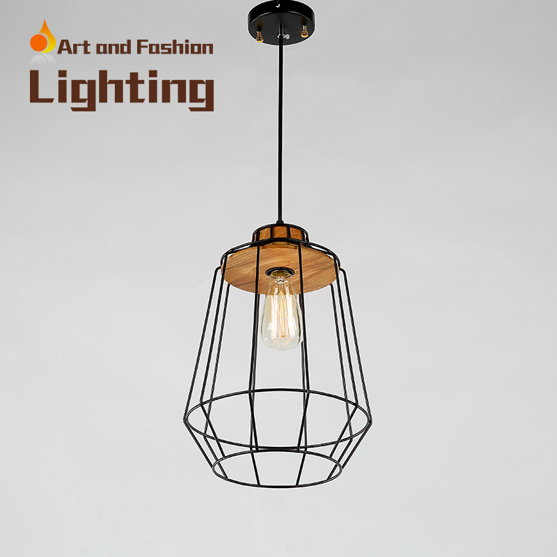 Nordic simplicity light American creative lights for restaurant cafe bar Personality single-head iron wood pendant lampCY-DD-211 classical chinese food industry restaurant bar cafe original wood single head pendant lights rmy 0247