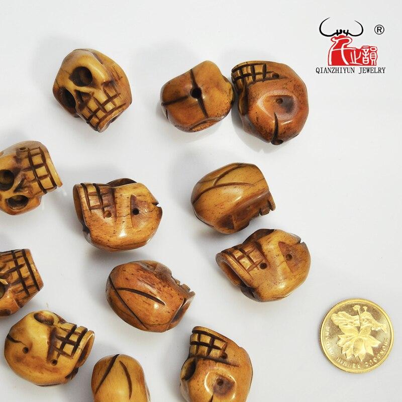 El yapımı Oyma Yak Kemik Boncuk, Kafatası Antik Boncuk Cadılar - Kostüm mücevherat - Fotoğraf 2