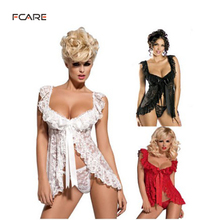 Fcare 2015 Europe and America transparent lace nightwear M to 4XL dress+g string plus size Sexy Lingerie