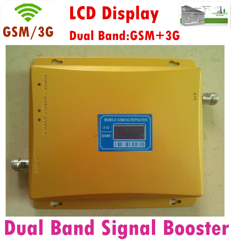 Original New Dual Band LCD Display 3G GSM Mobile Phone Signal Repeater GSM 900mhz WCDMA 2100mhz Booster Amplifier +Power Adapter