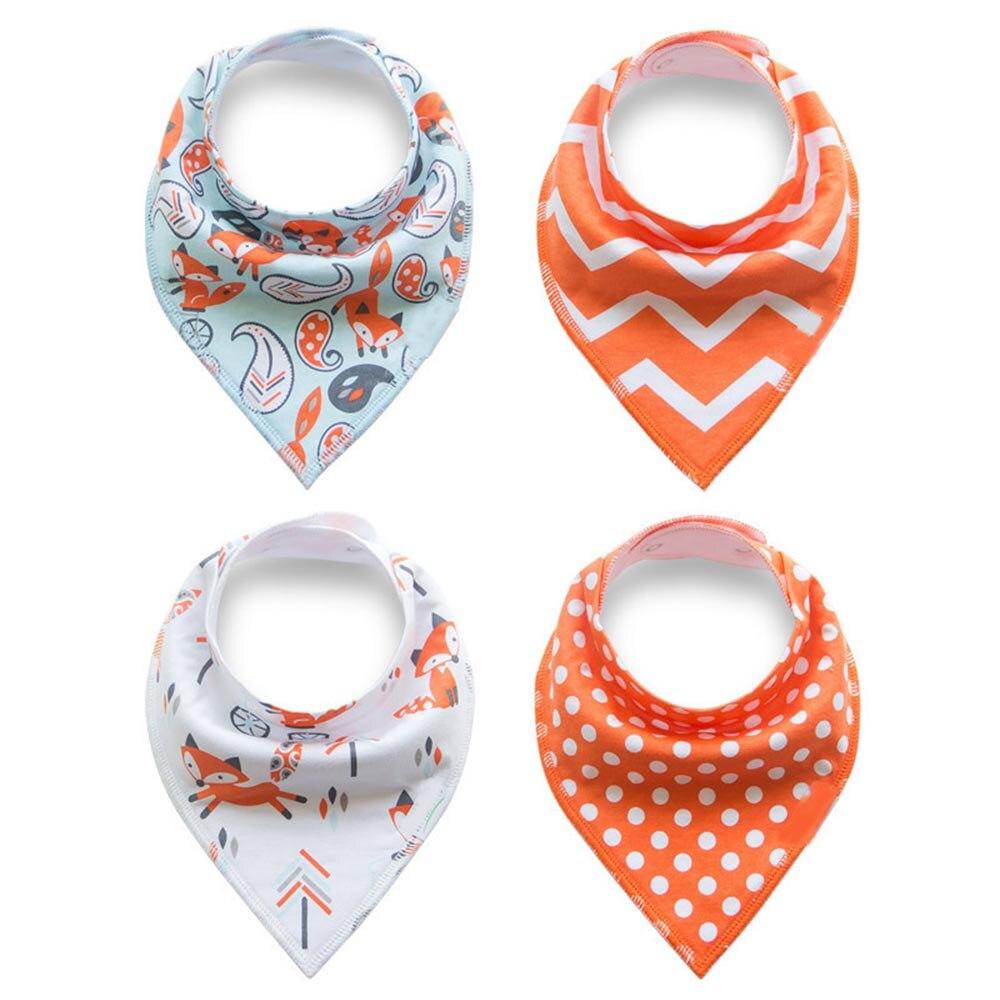 цена на 4Pcs/Lot Baby Cotton Bibs Kids Cute Printing Soft Bandana Newborn Toddler Triangle Scarf Infant Burp Cloths Saliva Towel
