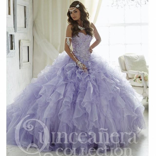 Bonito Lilás Vestidos Quinceanera Beading Sweetheart Organza Ruffles Vestido de baile de Máscaras Vestido 16 Doce 16 Vestidos de Baile de Laranja